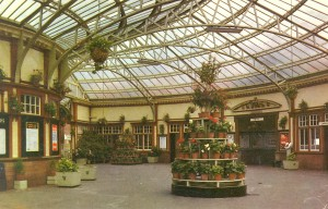 Wemyss Bay Station in earlier days, showing the lavish floral displays